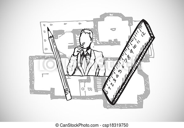 Composite image of architect doodle