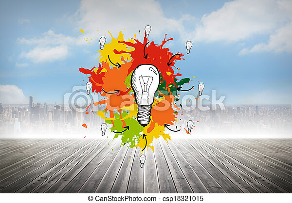 Composite image of light bulb on pa
