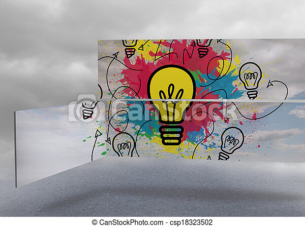 Light bulb and paint splashes on abstract screen against cloudy dull sky