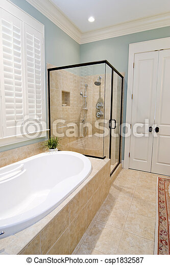 Foto de banheiro, vidro, Chuveiro, banheira - elegante ...