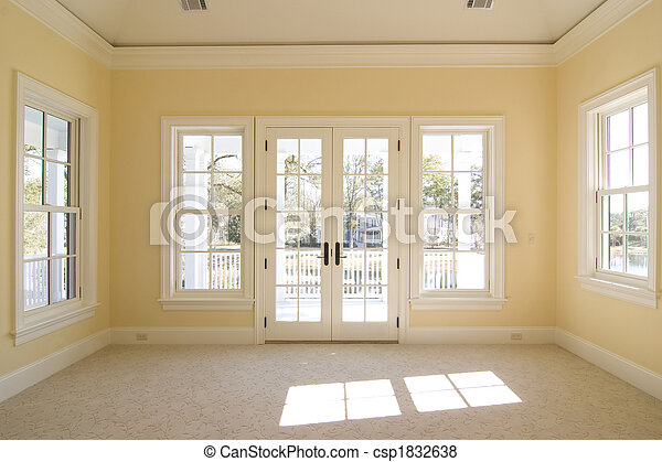 bedroom with view and porch - csp1832638