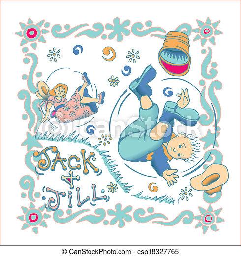 Clip Art Vector of Jack and Jill vector - Nice rendering of Jack ...