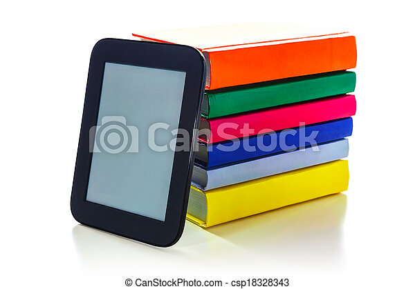 Electronic book reader with hard cover books - csp18328343