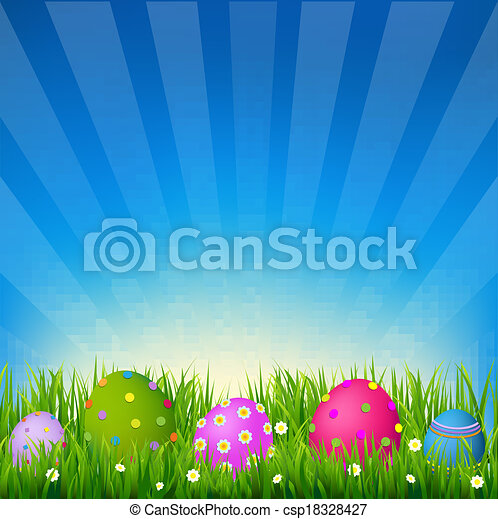 Blue Sky With Grass Easter Card - csp18328427