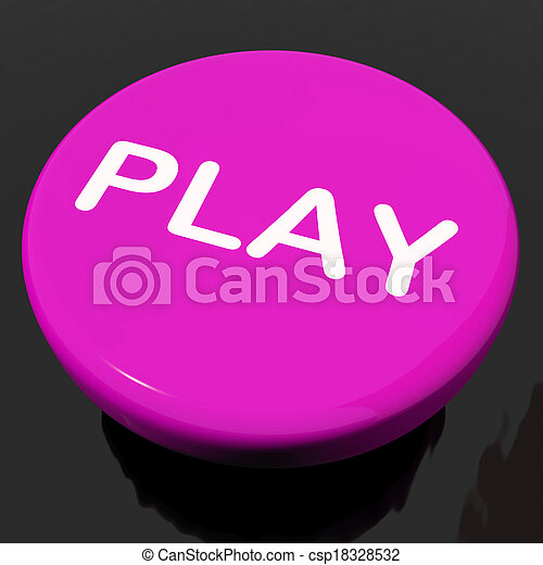 Play Button Shows Playing Online Gaming Or Gambling - csp18328532