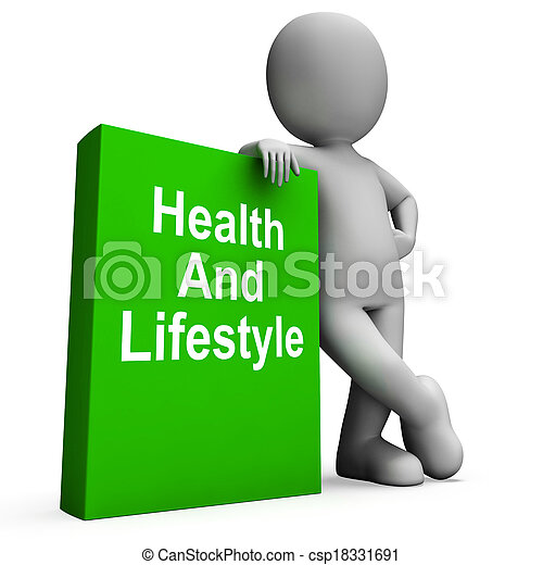 Health And Lifestyle Book With Character Shows Healthy Living - csp18331691