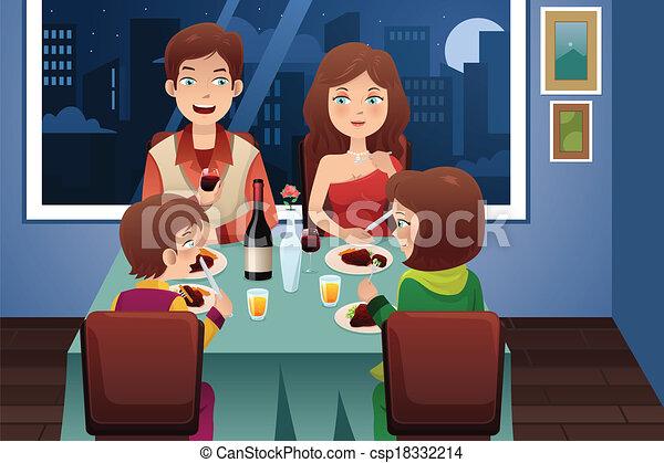 Family having dinner in a modern house - csp18332214