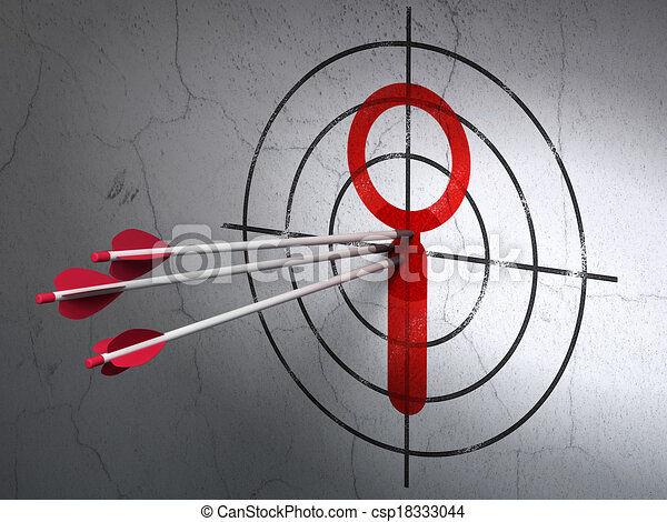 Data concept: arrows in Search target on wall background - csp18333044