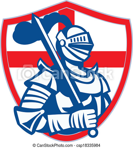 English Knight Hold Sword England Shield Flag Retro - csp18335984