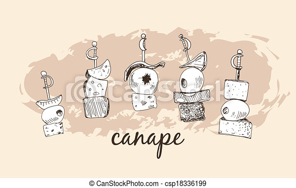 Eps vectors of canape set of hand drawn illustrations for Vector canape download