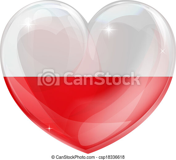 Poland flag love heart - csp18336618