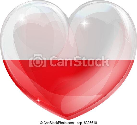 Poland flag love heart - csp18336618