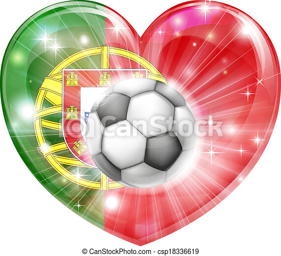 Portugal soccer heart flag - csp18336619