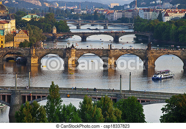 Beautiful bridges above Vltava, Prague - csp18337823