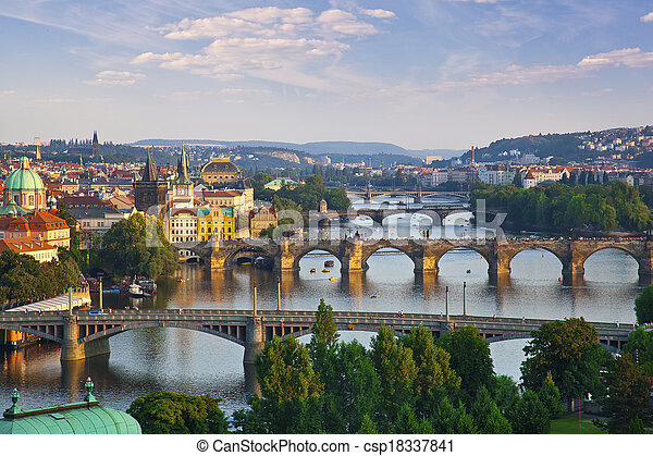 Beautiful bridges above Vltava, Prague - csp18337841