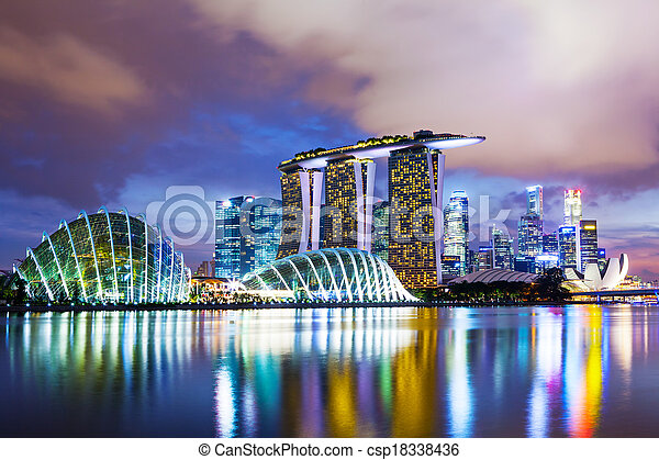 Singapore cityscape in sunset - csp18338436
