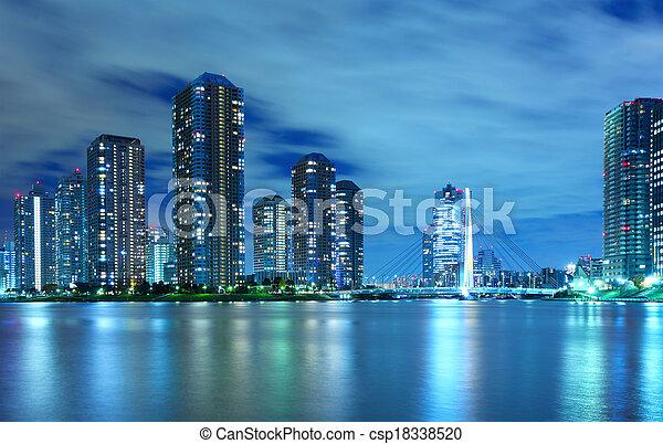 Tokyo residential district at night - csp18338520