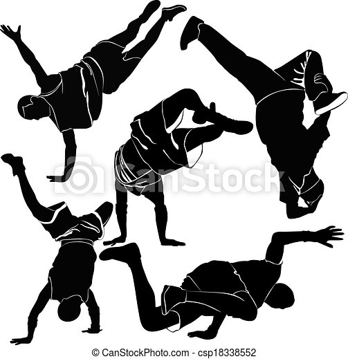 Clipart Vector of collection breakdance silhouette break dance ...