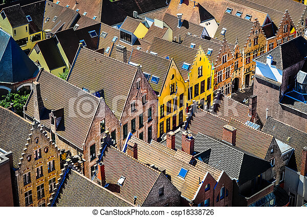 Detail of old rooftops and colorufl houses in historical town - csp18338726