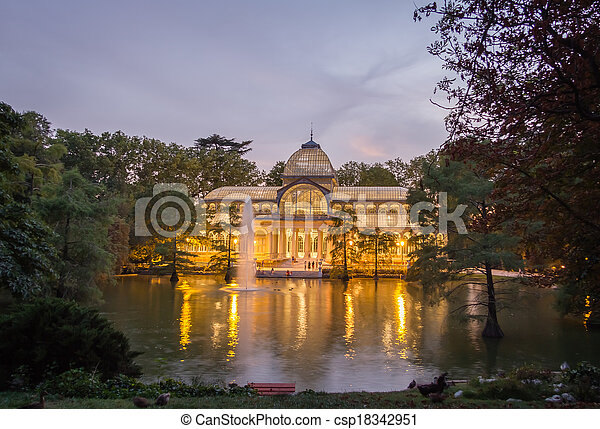 Crystal palace in Buen Retiro park, Madrid - csp18342951