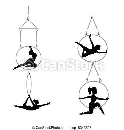 tandem aerial dancers - csp18343528
