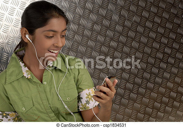 girl with portable mp3 player