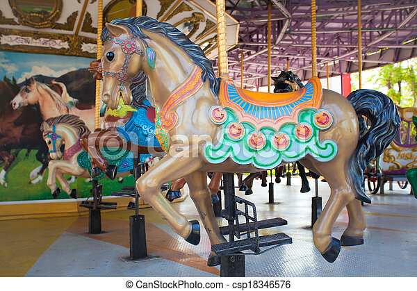 Carousel Horses at Siam park city - csp18346576