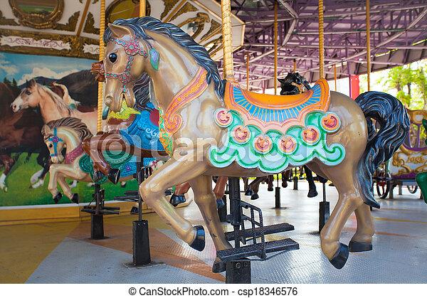Carousel Horses at Siam park city - csp18346576