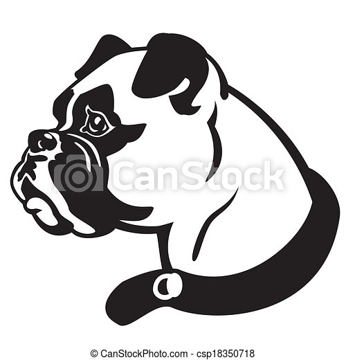 Clip Art Vecteur de tête, boxeur, chien - boxeur, chien