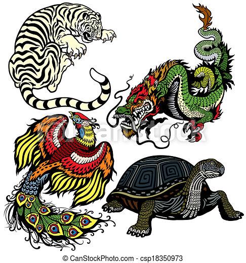 four celestial feng shui animals  - csp18350973