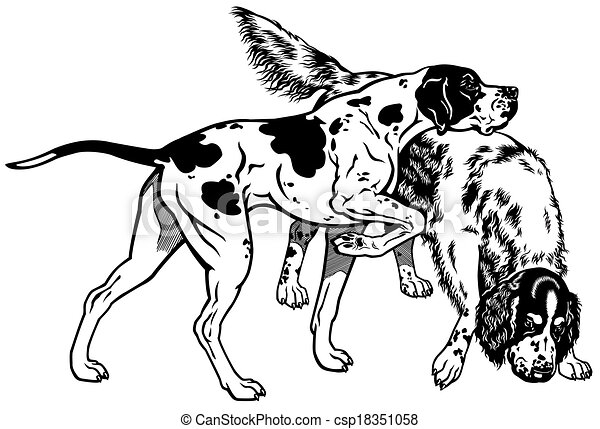 Clipart Vector of english pointer and setter gun dog breeds, black ...