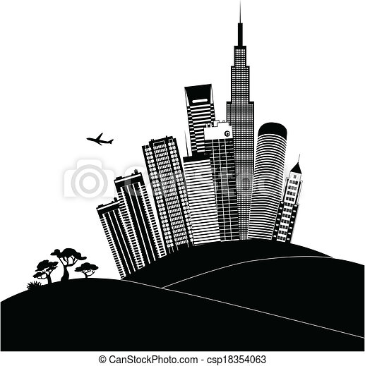 Clip Art Vector of Urban landscape in black and white ...