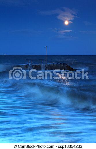 Storm at sea at night