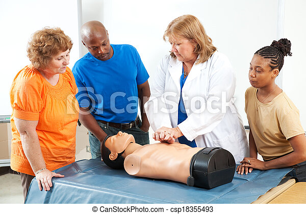 Adults Learning First Aid CPR - csp18355493