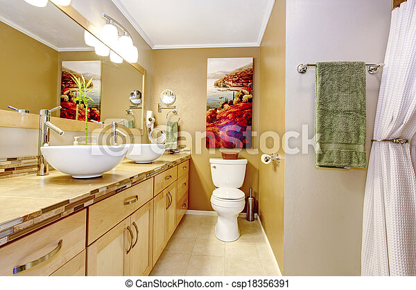 Modern bathroom with white vessel sinks