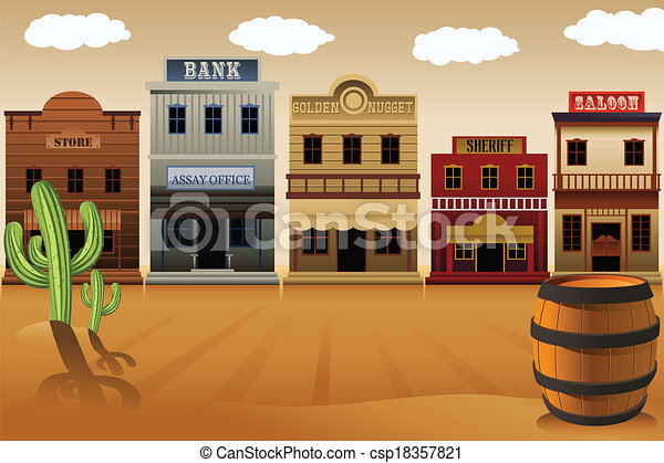 vector illustration of old western town