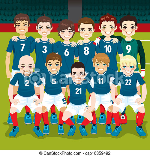 eps vectors of soccer team posing full soccer team Football Field Graphic Free American Football Field