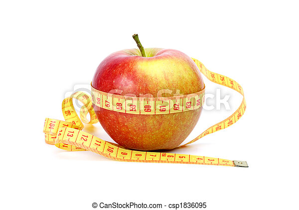 Yellow-red apple and measurement tape - csp1836095