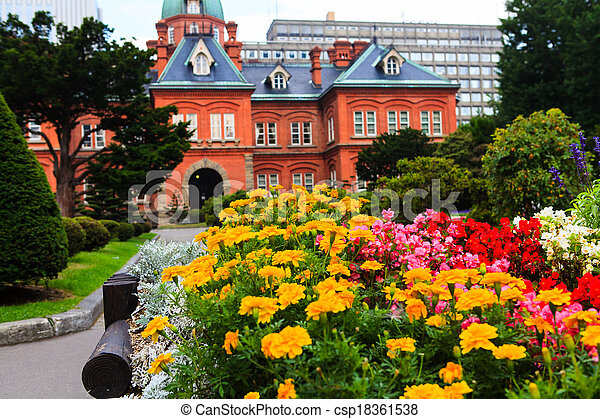 Flower with Former Hokkaido Government Office in Background. - csp18361538