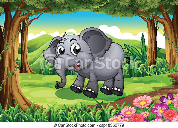 Forest Elephant Drawing a Smiling Elephant at The