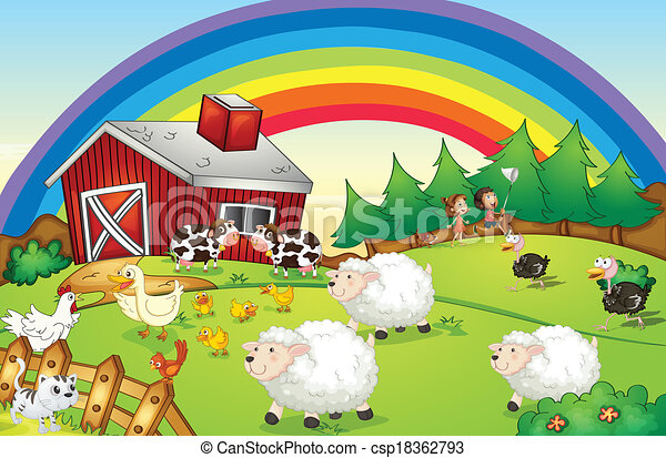 A farm with many animals and a rainbow in the sky - csp18362793
