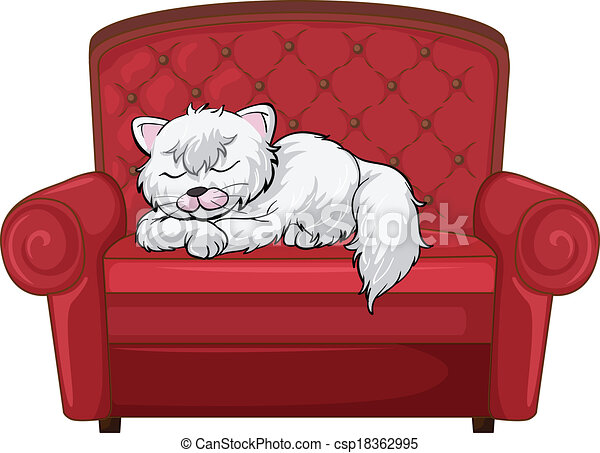 Eps Vectors Of A Cat Sleeping Soundly At The Chair