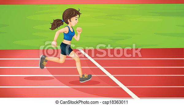 A lady running - csp18363011