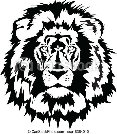 clipart vector of lion head - black lion head csp15697950 - search