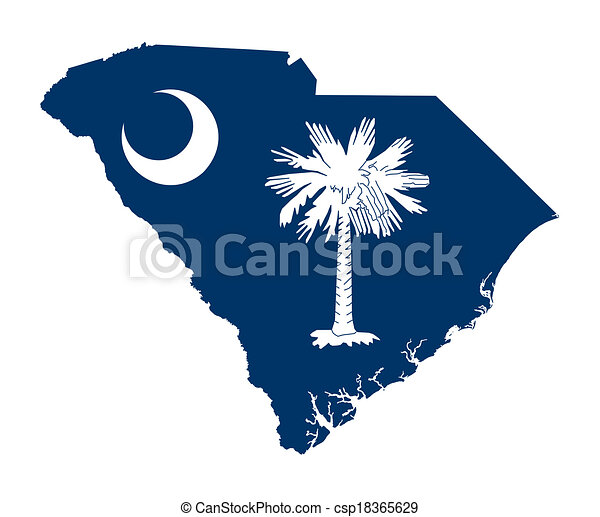State of South Carolina flag map - csp18365629