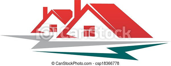 Two residential houses symbol - csp18366778