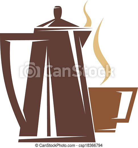 Coffee Pot Drawing Coffee Pot And Steaming Cup of