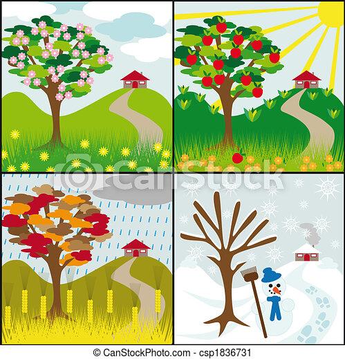 Clipart de quatre saisons colline quatre saisons arbre sur a csp1836731 recherchez - Taille citronnier 4 saisons ...