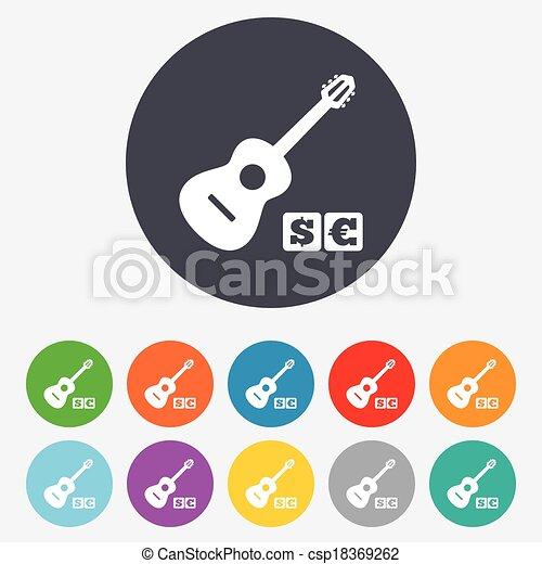 Acoustic guitar sign icon. Paid music symbol. - csp18369262