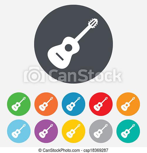 Acoustic guitar sign icon. Music symbol. - csp18369287